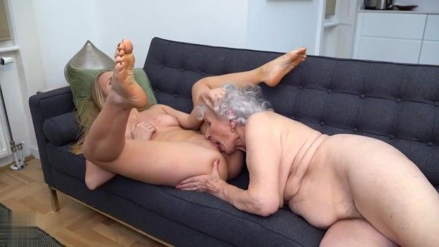 Amoral granny having lesbo sex with beauty