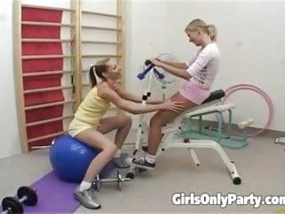 Hawt lesbian babes making love in the gym