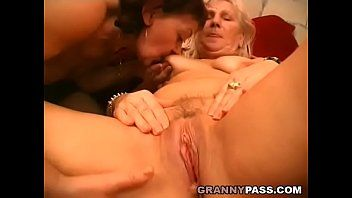 Lesbo grandmas giving a kiss and licking