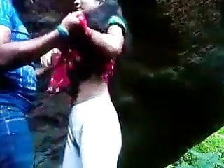 Desi college gal stuffed outdoor by boyfriend