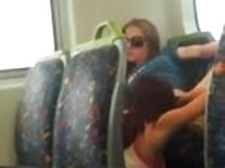Sexy lesbian babes eating muff on the public bus in melbourne