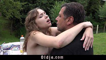 French youthful angel outdoor oral-stimulation lascivious sex throat messy of old ejaculation