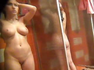 Sexy slender college gal masturbating in locker room